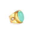Julie Vos Jewelry Ring in Aqua Chalcedony with Moonstone in 24K Gold Plate