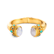Julie Vos Jewelry Cuff in Moonstone with Aqua Chalcedony and Labradorite in 24K Gold Plate
