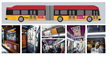 Grid of images documenting the buses, bus stations and poetry created for the Poetry on Buses program.