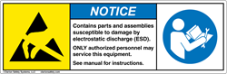 Example of an ANSI Z535-style ESD label. (Design ©2015 Clarion Safety Systems. All rights reserved.)