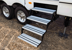 Lippert Components, Inc. (LCI®) introduces its new Alumi-Tread™ hybrid RV step, featuring strong, steel linkage and attractive aluminum treads with anti-slip rubber grooves for excellent traction.