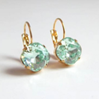 Mint Green Square Crystal Lever Back Earrings from LoveYourBling