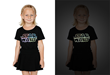 Little girls can be Force-fully fashionable, too, in this lightsaber shirt which glows-in-the-dark.