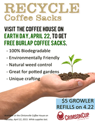 Free Earth Day coffee sack giveaway at Crimson Cup Coffee House in Columbus Ohio