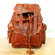 Handmade Leather Travel Backpack in Tan