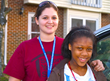 Seton Youth Shelters' Street Outreach Team Member and young girl in 2013.