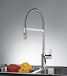 Measuring 18-7/8-inches tall, the Semi-Pro model features an arched, fully rotating, flexible spout that can be fixed into a straight-ahead position with its press-and-click stabilizer arm.