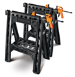 Two 18-inch bar clamps fasten without tools to WORX Clamping Sawhorses.