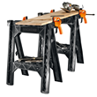 WORX Clamping Sawhorses have 32 inch working height and include storage shelves and cord wraps.