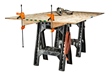 WORX Clamping Sawhorses feature top notches for holding 2x4s to support sheet material for cutting.