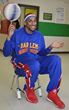 "Julian ""Zeus"" McClerkin, 2015 Harlem Globetrotter, says Bouncy Bands help students."
