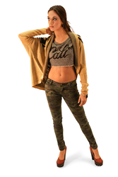 ItcouldbeFree.com Camouflage skinny pasnts with Cali cropped sweat top under a Tiger pattern knit new style cardigan sweater