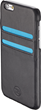 T8 Salt iPhone 6 wallet case in black leather and blue trim