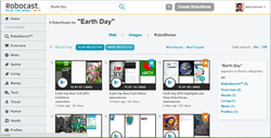 Playable RoboSearch results for Earth Day show dozens of links playable with one click