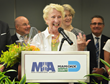 Elaine Riedinger speaks after being named MIA Volunteer Ambassador of the Year.