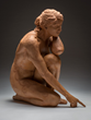 Telling Tales, life size fired clay by Kristine Poole on display at EVOKE Contemporary 2015
