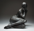 They said Abigael was a Witch, fired clay sculpture by Kristine Poole at EVOKE Contemporary 2015