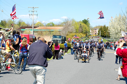 Riders arrive in Gettysburg in the 2014 Face of America ride.