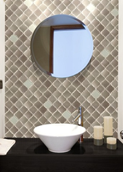 Tremont Patterned Tile In Brushed Nickel And White Glass SSL-1102 from Soci