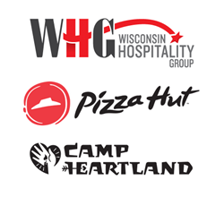 Wisconsin Hospitality Group, Pizza Hut, and Camp Heartland logos