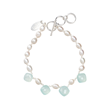 INIZI Blue Chalcedony and Pearls Silk Knotted Drop Bracelet