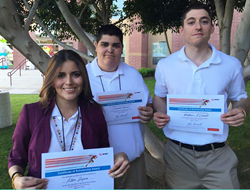 Alba López Nájera, Cris Romero and Matt O'Donnell are Scottsdale Community College student winners of the 2015 Avnet Tech Games.