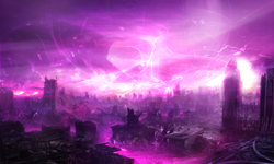 The Maelstrom descending upon and destroying a major city.