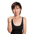 Christina Lim, Designer and CEO Blackfrangipani Pte Ltd  She's wearing INIZI's Sterling silver Pyrite Earrings; Sterling silver Amethyst and Moonstone Drops Necklace;  and Sterling Silver Carnelian and Onyx Cubes Bracelet