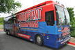 The National TournEvent of Champions® Blue bus gets ready to hit the road from the Multimedia Games® offices in Austin, Texas.