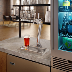 Perlick's new Adara Signature Beer Tower configured with two GOOD DESIGN® Award winning 650SS Flow Control Beer Faucets.