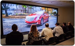 GM's 240-sq-ft powerwall using Christie projectors for 2D and 3D viewing