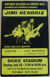 1970 Jimi Hendrix Sicks Stadium Seattle boxing style rock n roll concert poster