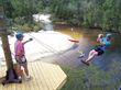 Ziplining over Coldwater Creek with Adventures Unlimited.