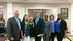 Commissioner Semple (DOC), Katelynn Collins, Kathy Wyatt, Governor Malloy, Commissioner Delphin-Rittmon (DHMAS), Deb Dettor, Marika Stewart