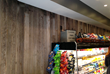 Part of a small reserve from Douglas fir vats formerly used in the fruit industry (and recently salvaged by Pioneer Millworks), Vat 35 Patina Interior plank paneling found new life in Pax Wholesome Foods in NYC.