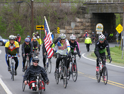 Veterans ride north from the Pentagon to Frederick, Maryland April 25.
