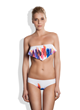 Meli Beach Swimwear Ruffle Bandeau Bikini Top and Mediterraneo Bikini Bottom in Paint
