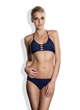 Meli Beach Swimwear Navy JetSet Bikini Top and Strappy Bikini Bottom in Navy