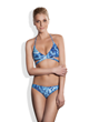 Meli Beach Swimwear Island Wrap Bikini Top and JetSet Bikini Bottom in Blues