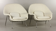"Pair of Knoll ""Womb"" chairs with Morocco wool upholstery"