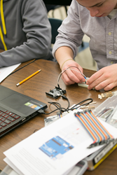 LCA student during Robotics Engineering course