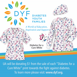"Uniform Advantage will donate $1 from the sale of each ""Diabetes for a Cure White"" scrub prints to the Diabetes Youth Families"