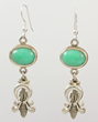 Oval Chrysophase Corn Naja Earrings by Ray Tracey