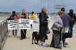 Protest at Detroit Metro Airport by members of the National Federation of the Blind of Michigan on April 26, 2015.