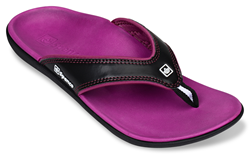 The Yumi flip-flop, shown in Nightlight, is one of the dozens of fashionable styles available with orthotic-grade arch support.