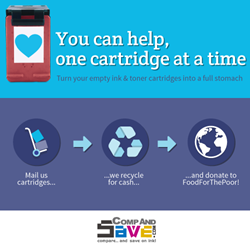 CompAndSave printer cartridge recycling program for Food For The Poor