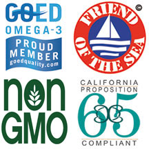 Follows certification programs by GOED, Friend of the Sea, Non-GMO Project, CA Prop 65 and more.