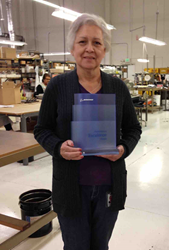 "Electocube Receives ""Preferred Supplier"" Boeing Perfermance Excellence Award  for Eighth Consecutive Year. Pictured: Part of our team: Sylvia Gonzalez, Production Supervisor, and her team in the Networks Department where our Boeing product is made."