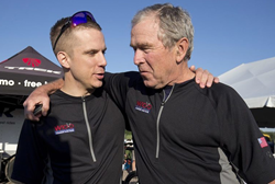 President George W. Bush and veteran Adam McCann.