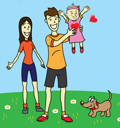 Family Happiness is a webcomic about being a new parent by Teddy Nevers
